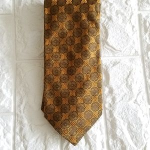 Ike Behar New York Necktie Brown Golden Geometric